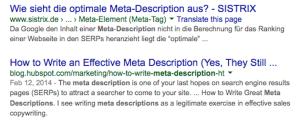 Was ist passiert? Wieso erlaubt Google im zweiten Snippet eindeutig mehr Zeichen? Wahrscheinlich ein einmaliger Ausrutscher! Kann auch Google mal passieren.